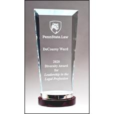 Premium Series Glass Award with Rosewood